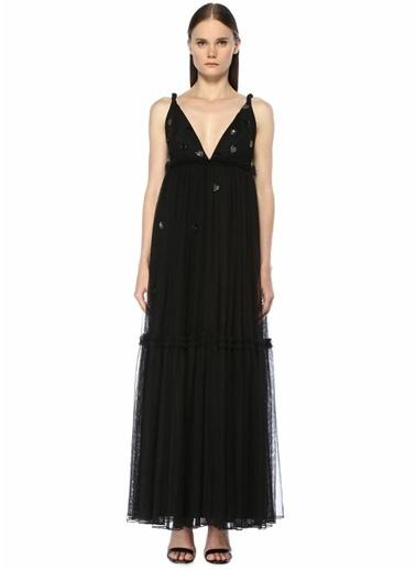 Beymen Collection V Yaka Taş İşlemeli Maksi Tül Abiye Elbise Siyah